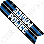 93-13 Saddlebag Latch Reflector Covers - Blue Line - Police