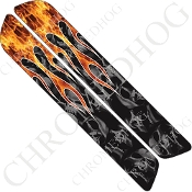 93-13 Saddlebag Latch Reflector Covers - Skull Flame - Real/Gray