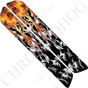 93-13 Saddlebag Latch Reflector Covers - Skull Flame - Real/Wht