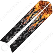 14-Up Saddlebag Latch Reflector Covers - Skull Flame - Real/Gray