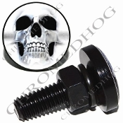 Sm Black Billet License Plate Bolts - Ghost Skull