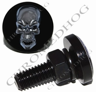 Sm Black Billet License Plate Bolts - Silver Skull