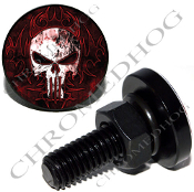 Sm Black Billet License Plate Bolts - Punisher Skull