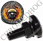 Sm Black Billet License Plate Bolts - Fire Fighter - DP