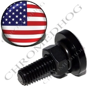 Sm Black Billet License Plate Bolts - Flag - USA