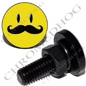 Sm Black Billet License Plate Bolts - Smile Face 'Stache
