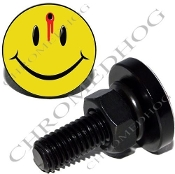 Sm Black Billet License Plate Bolts - Smile Face Shot