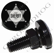 Sm Black Billet License Plate Bolts - Sheriff Badge - Black