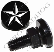 Sm Black Billet License Plate Bolts - Star - White/Black