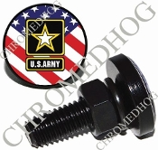 Sm Black Billet License Plate Bolts - Army Logo - US Flag