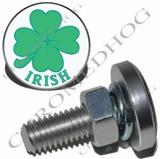 Sm Silver Billet License Plate Bolts - Clover - Irish White