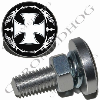 Sm Silver Billet License Plate Bolts - Iron Cross - OWB