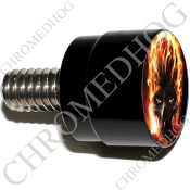Twin Cam Air Cleaner Bolt - S SM Black Billet Flaming Skull