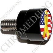 Twin Cam Air Cleaner Bolt - S SM Black Billet Ribbon - Y/Flag