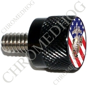 Twin Cam Air Cleaner Bolt - S KN Black Billet USMC EGA - US Flag