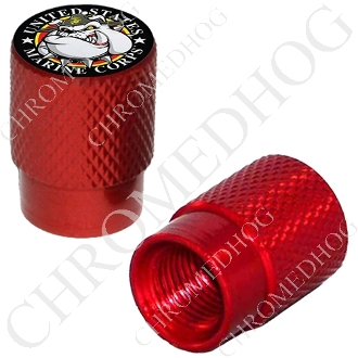 Knurled Valve Stem Caps - USMC Devil Dog - 2