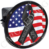 Tow Hitch Cover - 9/11 Black Ribbon - USA Flag
