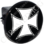 Tow Hitch Cover - Iron Cross - White/ Black