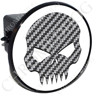 Tow Hitch Cover - Evil Skull - Carbon Fiber - White