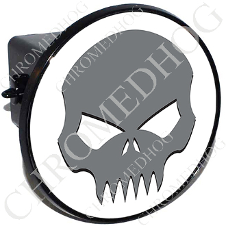 Tow Hitch Cover - Evil Skull -  Gray/White