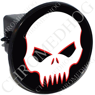 Tow Hitch Cover - Evil Skull -  White/Black