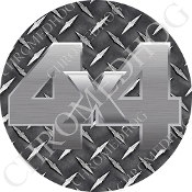 Premium Round Decal - 4x4 - Silver/ Diamond Plate
