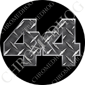 Premium Round Decal - 4x4 - Diamond Plate/ Black