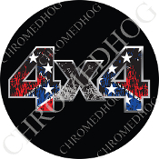 Premium Round Decal - 4x4 - Torn Rebel Flag/ Black