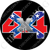 Premium Round Decal - 4x4 - Rebel Flag/ Black