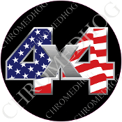 Premium Round Decal - 4x4 - USA Flag/ Black