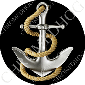 Premium Round Decal - Anchor - Black