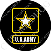 Premium Round Decal - Army Logo - Black