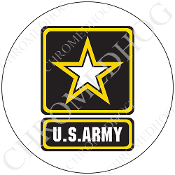 Premium Round Decal - Army Logo - White