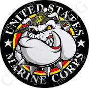 Premium Round Decal - USMC - Devil Dog