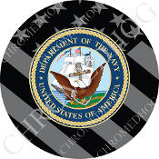 Premium Round Decal - USN Navy Dept - Ghost Flag