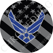 Premium Round Decal - USAF Logo - Ghost Flag