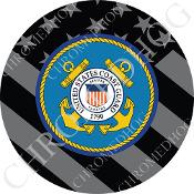 Premium Round Decal - Coast Guard - Ghost Flag