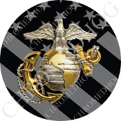 Premium Round Decal - USMC EGA Logo - Ghost Flag