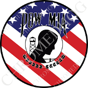 Premium Round Decal - POW*MIA - USA Flag