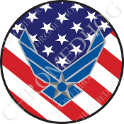 Premium Round Decal - USAF Logo - USA Flag