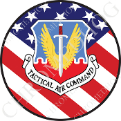 Premium Round Decal - USAF TAC Logo - USA Flag