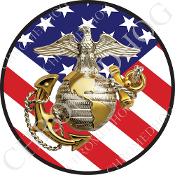Premium Round Decal - USMC EGA Logo - USA Flag