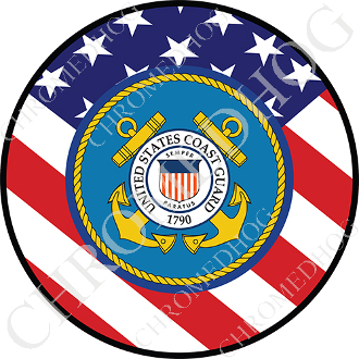 Premium Round Decal - Coast Guard - USA Flag