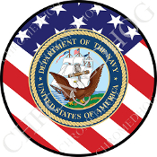Premium Round Decal - USN Navy Dept - USA Flag