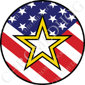 Premium Round Decal - Army Star - USA Flag
