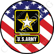 Premium Round Decal - Army Logo - USA Flag