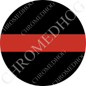 Premium Round Decal - Red Line - Black