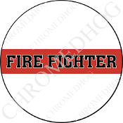 Premium Round Decal - Red Line - Fire Fighter - White