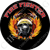 Premium Round Decal - Fire Fighter - Black T