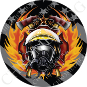 Premium Round Decal - Fire Fighter - Ghost Flag NT